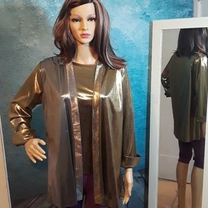 Vintage gold and silver lame drape jacket size S